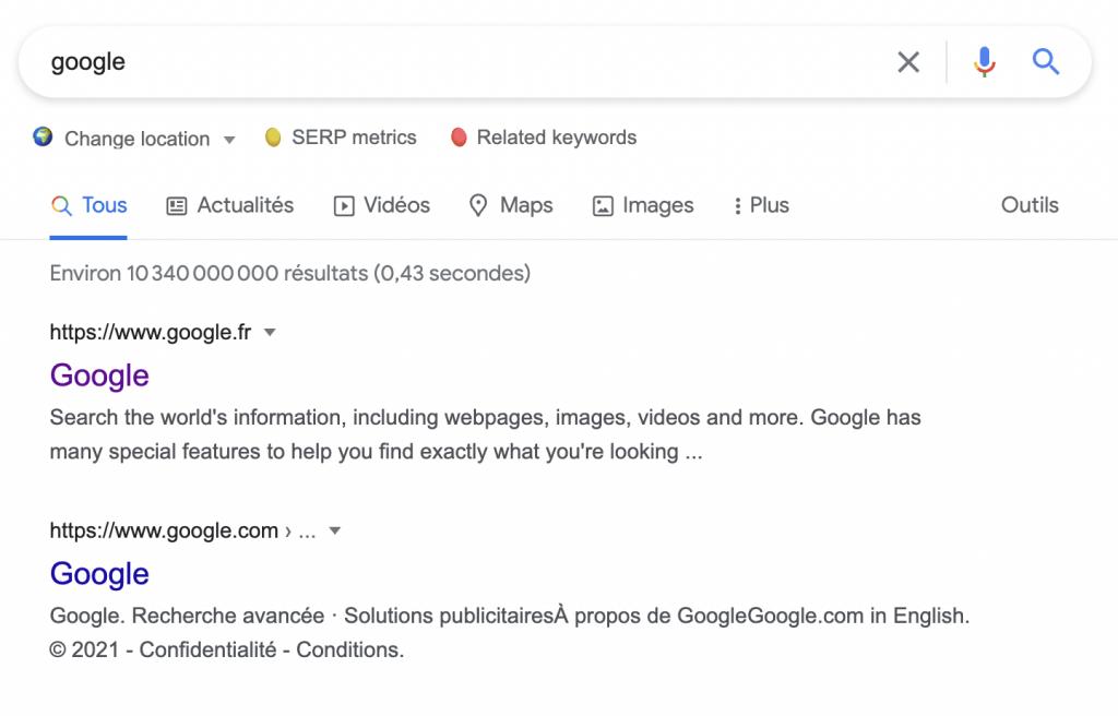 Une SERP de Google